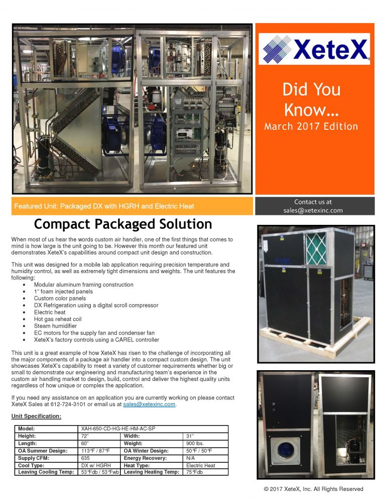Xetex Inc : March 2017 - Compact Package Solution