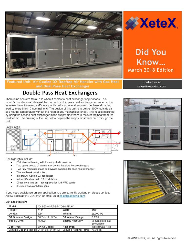 Xetex Inc : March 2018 Double Pass Heat Exchangers: March 2018